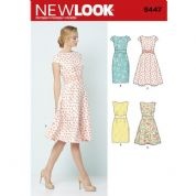6447 New Look Pattern: Misses' Dresses, Sleeveless, Cap Sleeves and Dart Waist